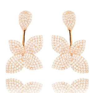 32mm Super Shiny Leaf Flower Paved Zirconia Earrings