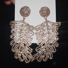 Load image into Gallery viewer, Exaggerated Rhinestone Feather Dangle Earrings
