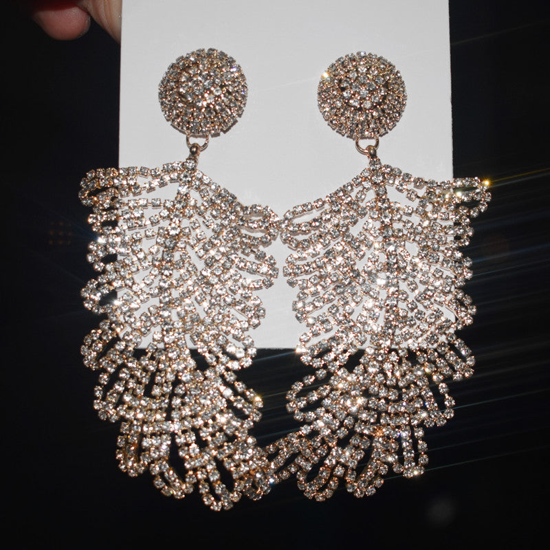 Exaggerated Rhinestone Feather Dangle Earrings