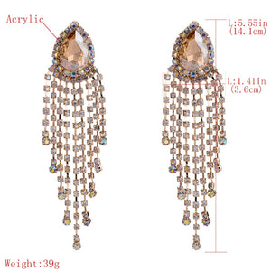 Stunning Crystal Rhinestone Big Water Drop Dangle Earrings