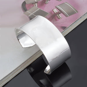 925 Sterling Silver Classic Simple Extra Large Opening Bracelet