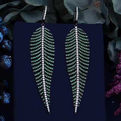 Luxury Feather Leaf Colorful Cubic Zirconia Earrings