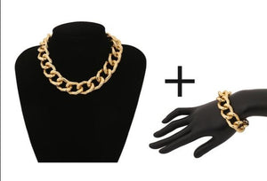 Exaggerated Cuban Thick Chain Choker Statement Necklaces, Bracelets and Sets