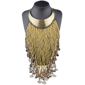 Large Long Beaded Coin Tassel Statement Choker Necklace