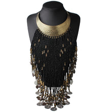Load image into Gallery viewer, Large Long Beaded Coin Tassel Statement Choker Necklace