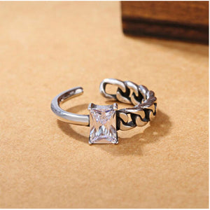 Irregular Twisted Opening Zircon 925 Sterling Ring