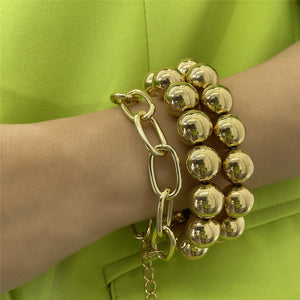 3pcs set Big Bead Strand Bracelet