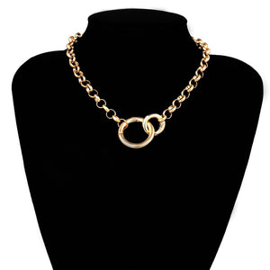 Simple Geometric Round Link Chain Choker Pendant Necklace
