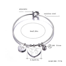 Load image into Gallery viewer, Classical Round Big Heart Pendant Bangle