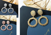 Load image into Gallery viewer, Large Hollow Round Hanging Dangle Drop Earrings