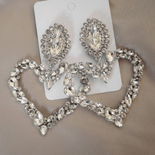 Load image into Gallery viewer, Shiny Crystal Rhinestone Heart Pendant Dangle Earrings