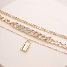Load image into Gallery viewer, Rhinestone Multi Layer Necklace w/ Lock Pendant
