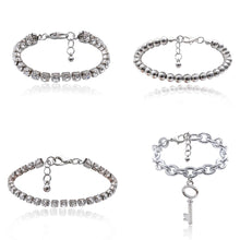 Load image into Gallery viewer, 4pcs/lot Key Charm Multi Layer Rhinestone Tennis Bracelet