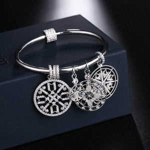 Luxury Silver Color Trible Totem Bangle with Crab Shell Star Bracelet