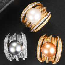 Load image into Gallery viewer, Twist Pearl Cubic Zircon Statement Ring