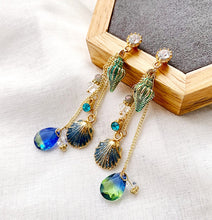 Load image into Gallery viewer, Bohemia Style Long Tassels Crystal Temperament Metal Shells multicolor Drop earrings