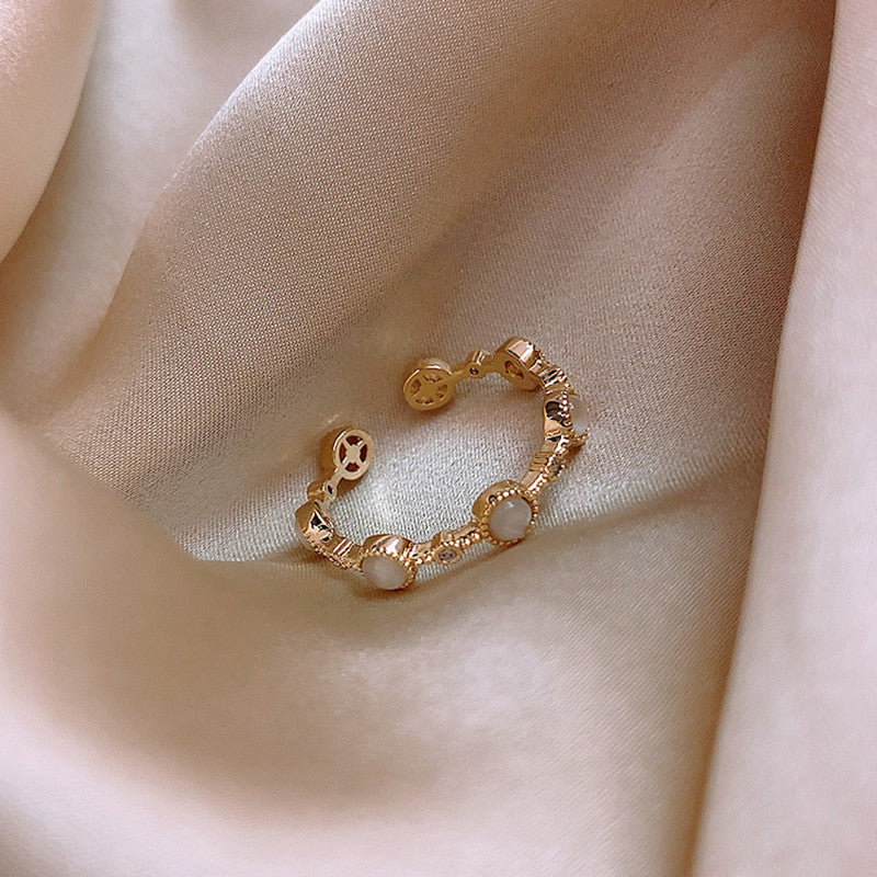 Rhinestone Geometric Adjustable Ring