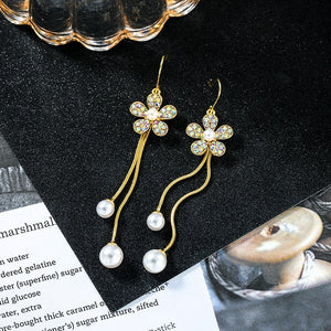 Multicolor Crystal Flowers Long tassel pearl Drop earrings