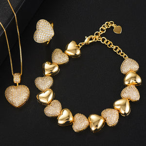 Heart Charms Cubic Zirconia Statement Necklace, Bracelet, Ring, Earrings or Set