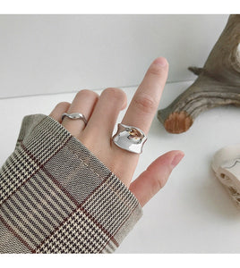 Irregular Concave Wide Surface 925 Sterling Silver Open Ring