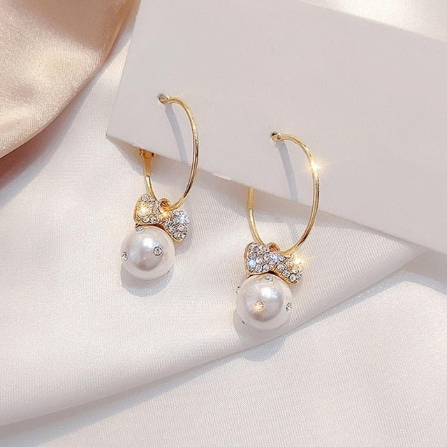 Elegant Water Drop Pearl Bowknot Earrings