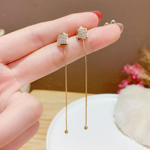 Load image into Gallery viewer, Long Tassel Metal Ball Earrings