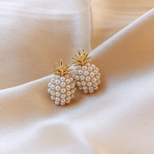 Pineapple Geometric Pearl Stud Earrings