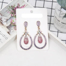 Load image into Gallery viewer, Long Shiny Multicolor Crystal Drop Earrings