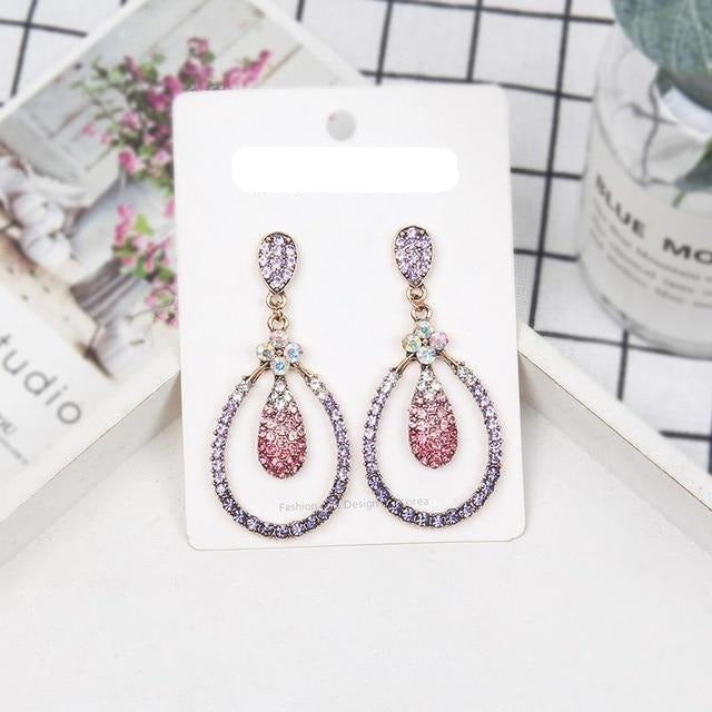 Long Shiny Multicolor Crystal Drop Earrings