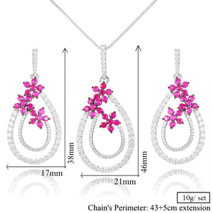 Flowers Necklace Earring Jewelry Sets