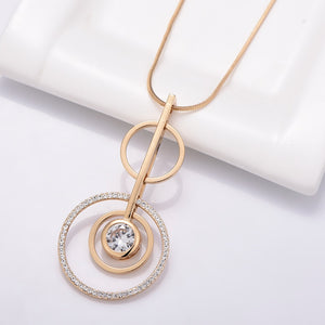 Round Crystal Circles Pendant Necklaces