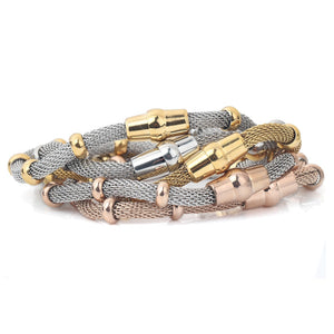 High quality Three Color stainless steel clasp Bracelet with charms cable mesh