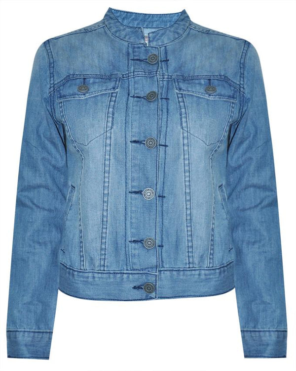 Women's Long Sleeve Mandarin Collar Jacket - Nobody Jeans