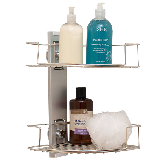 Dual shelf suction corner shower caddy