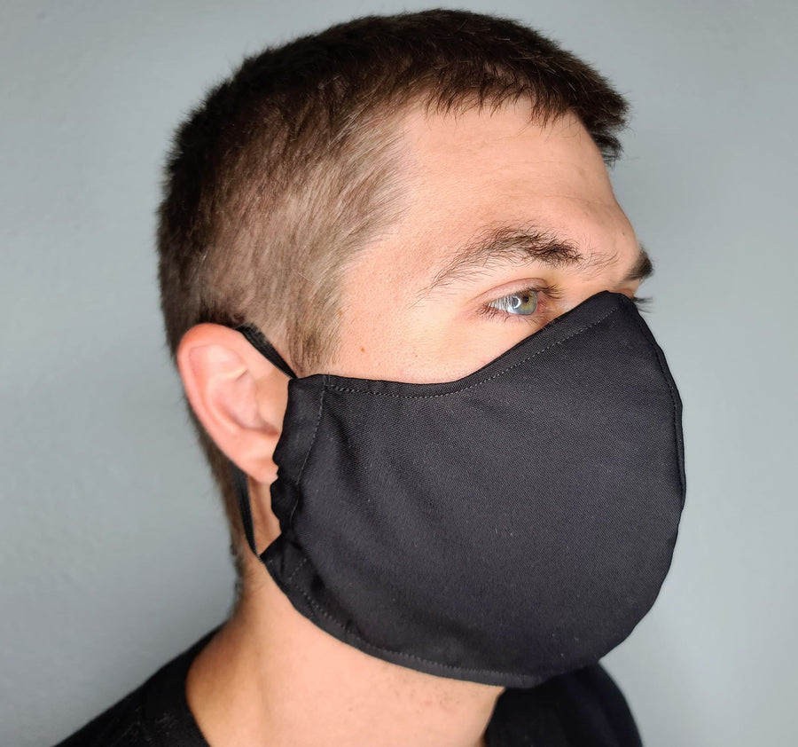 BLACK FACE MASK 100% COTTON THREE LAYER WITH POCKET HANDCRAFTED BY HOUSEWIVES FROM MY DESIGNS FLORIDA