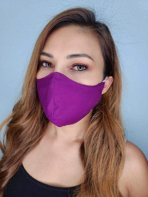 BRIGHT PURPLE FACE MASK 100% COTTON THREE LAYER WITH POCKET HANDCRAFTED BY HOUSEWIVES FROM MY DESIGNS FLORIDA