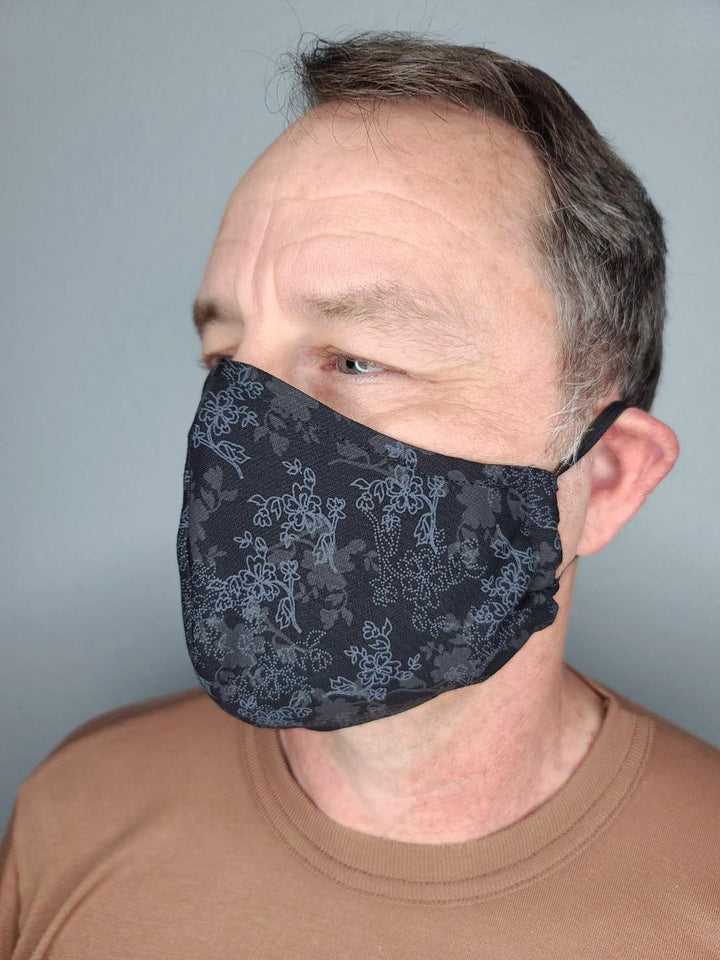 BLACK BLOOMS FACE MASK 100% COTTON THREE LAYER WITH POCKET HANDCRAFTED BY HOUSEWIVES FROM MY DESIGNS FLORIDA