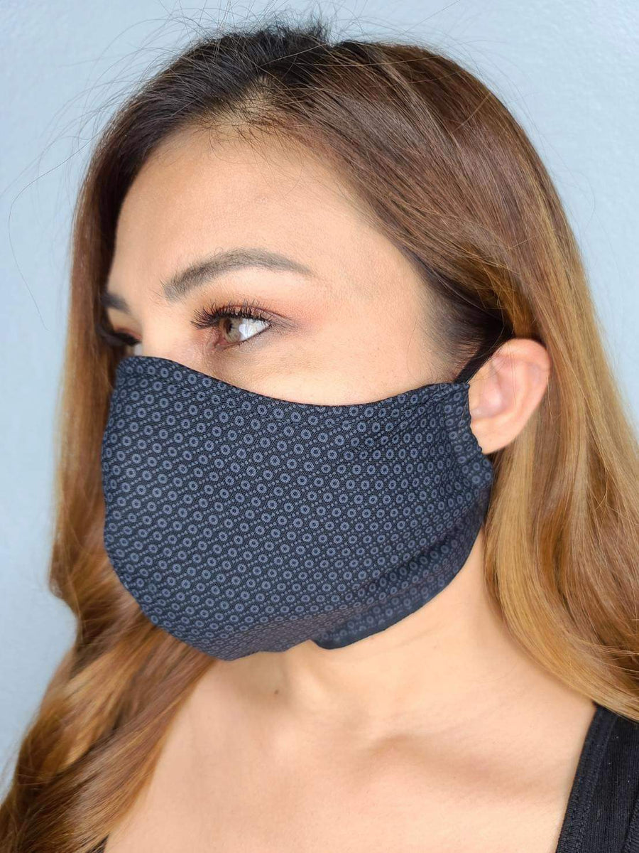 BLACK CIRCLES FACE MASK 100% COTTON THREE LAYER WITH POCKET HANDCRAFTED BY HOUSEWIVES FROM MY DESIGNS FLORIDA