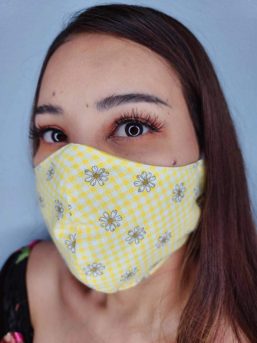 YELLOW FLOWERS FACE MASK 100% COTTON THREE LAYER WITH POCKET HANDCRAFTED BY HOUSEWIVES FROM MY DESIGNS FLORIDA