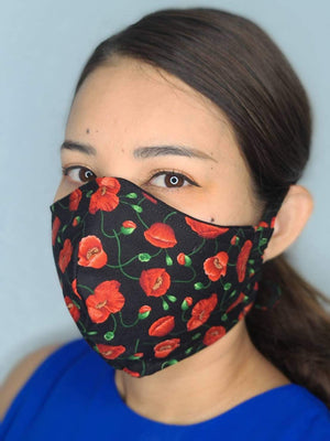 RED FLOWERS FACE MASK 100% COTTON THREE LAYER WITH POCKET HANDCRAFTED BY HOUSEWIVES FROM MY DESIGNS FLORIDA