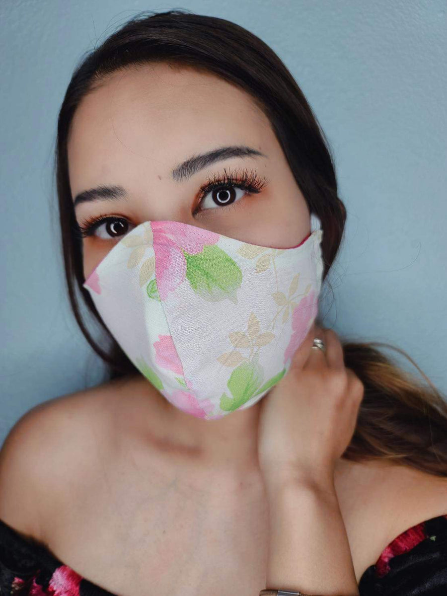 TRADITIONAL FACE MASK 100% COTTON THREE LAYER WITH POCKET HANDCRAFTED BY HOUSEWIVES FROM MY DESIGNS FLORIDA