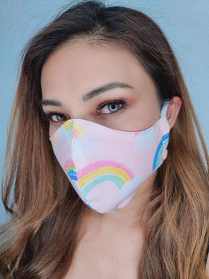 Pink rainbows face mask