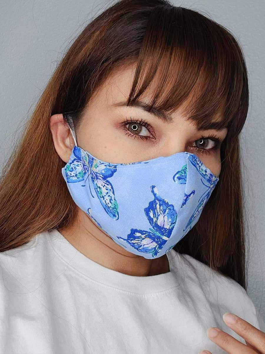 BLUE BUTTERFLY FACE MASK 100% COTTON THREE LAYER WITH POCKET HANDCRAFTED BY HOUSEWIVES FROM MY DESIGNS FLORIDA
