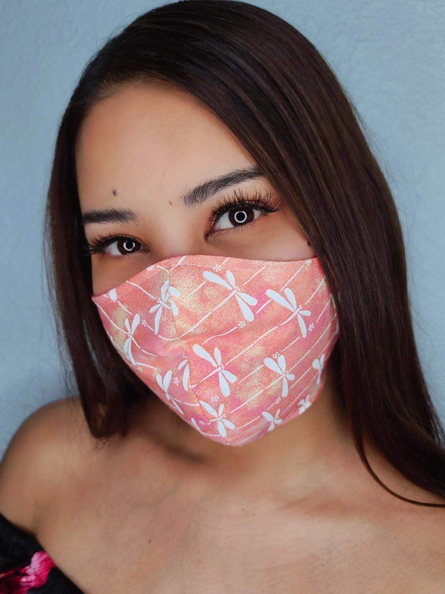 Peach dragonfly face mask