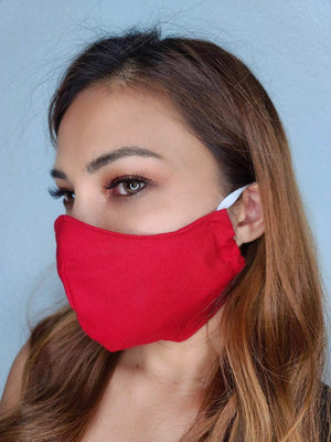 RED FACE MASK 100% COTTON THREE LAYER WITH POCKET HANDCRAFTED BY HOUSEWIVES FROM MY DESIGNS FLORIDA