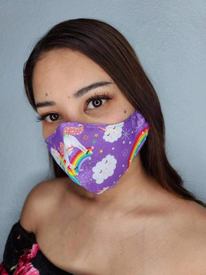 MORE UNICORNS FACE MASK 100% COTTON THREE LAYER WITH POCKET HANDCRAFTED BY HOUSEWIVES FROM MY DESIGNS FLORIDA