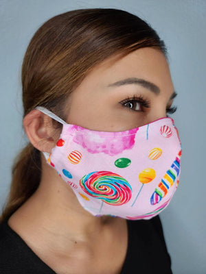 CANDY FACE MASK 100% COTTON THREE LAYER WITH POCKET HANDCRAFTED BY HOUSEWIVES FROM MY DESIGNS FLORIDA