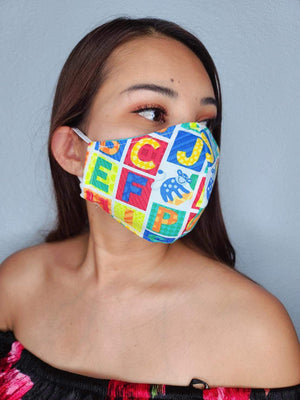 ALPHABET FACE MASK 100% COTTON THREE LAYER WITH POCKET HANDCRAFTED BY HOUSEWIVES FROM MY DESIGNS FLORIDA