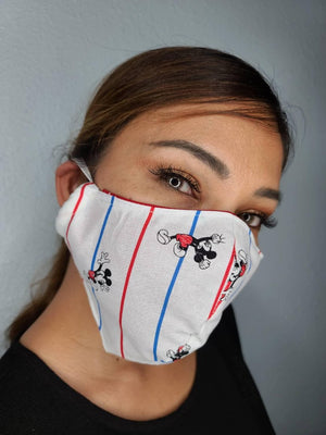 MICKEY STRIPES FACE MASK 100% COTTON THREE LAYER WITH POCKET HANDCRAFTED BY HOUSEWIVES FROM MY DESIGNS FLORIDA