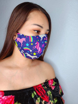 DARK UNICORNS FACE MASK 100% COTTON THREE LAYER WITH POCKET HANDCRAFTED BY HOUSEWIVES FROM MY DESIGNS FLORIDA